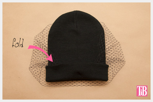 DIY Veiled Beanie Fold up the brim