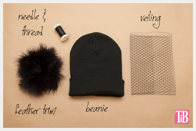 DIY Veiled Beanie Supplies