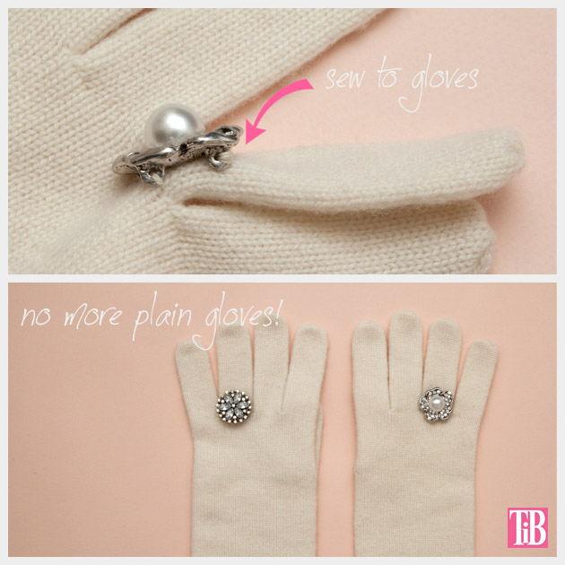DIY Gloves with Rings Sewing on the rings