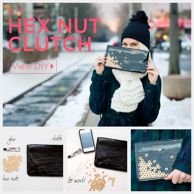 Hex Nut Clutch DIY by Trinkets in Bloom
