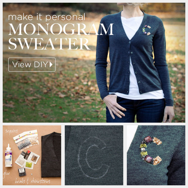 DIY Monogram Sweater by trinketsinbloom.com