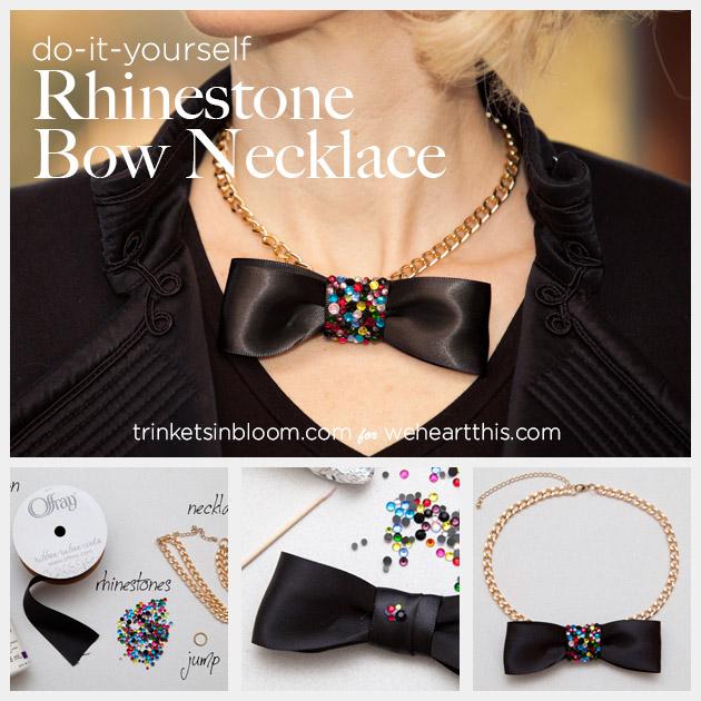 DIY Rhinestone Bow Necklace by Trinkets in Bloom