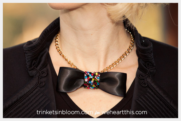 DIY Rhinestone Bow Necklace Photo