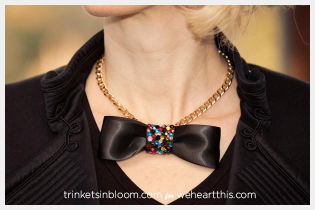 DIY Rhinestone Bow Necklace Photo