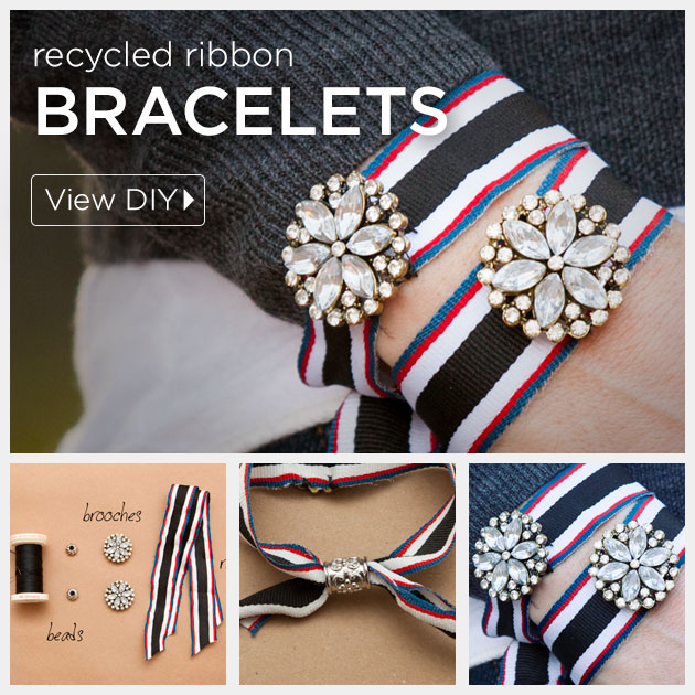 DIY Recycled Ribbon Bracelet by Trinkets in Bloom