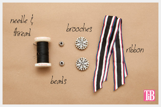 DIY Recycled Ribbon Bracelet Supplies