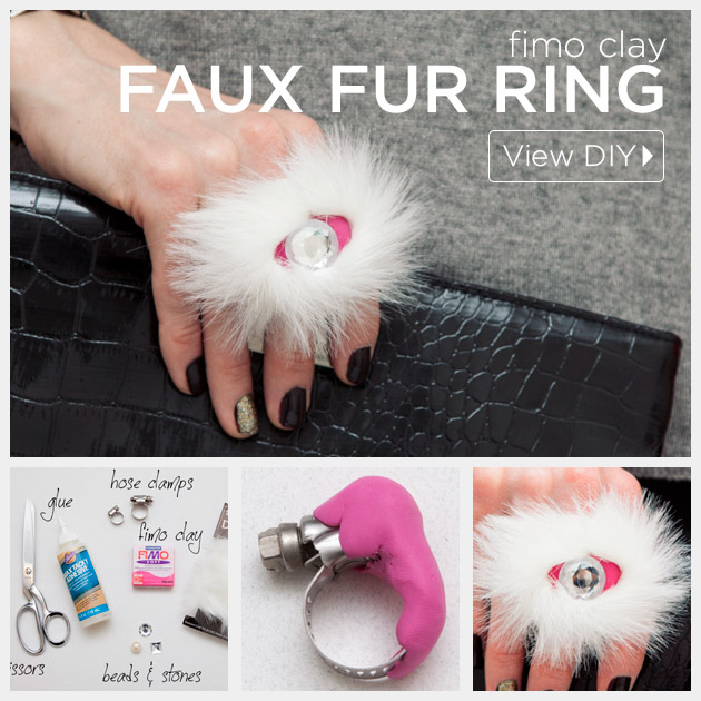 Faux Fur Fimo Clay Ring DIY by Trinkets in Bloom