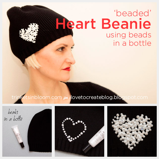 Beaded Heart Beanie DIY by Trinkets in Bloom