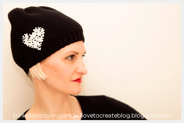 Beaded Heart Beanie DIY Photo