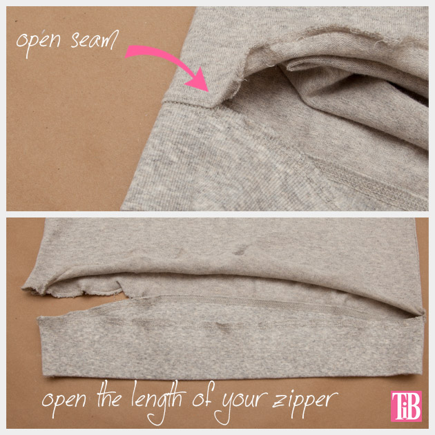 Distressed Sweatshirt DIY with Zipper Hem Cutting Open the Seam