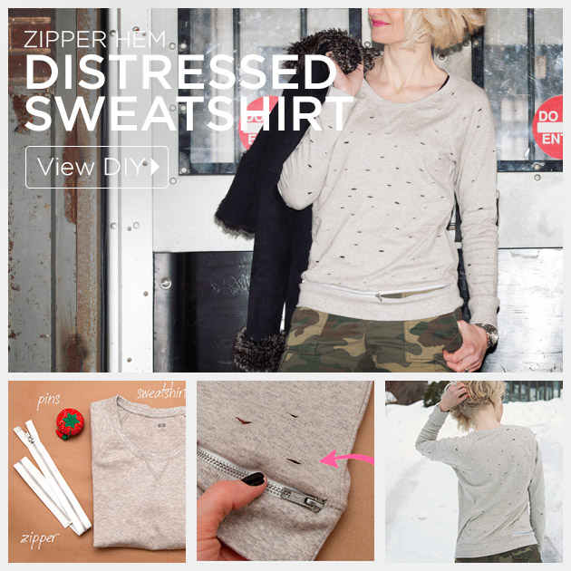 Distressed Sweatshirt DIY with Zipper Hem by Trinkets in Bloom