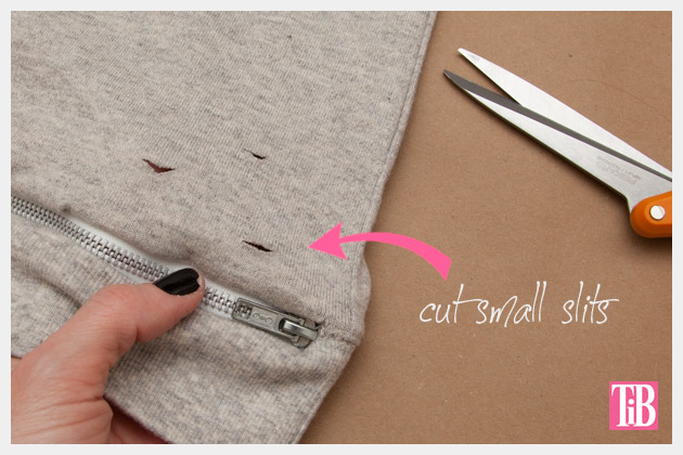 Distressed Sweatshirt DIY with Zipper Hem Cutting Holes