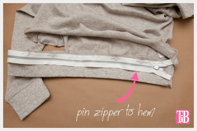 Distressed Sweatshirt DIY with Zipper Hem Zipper 1