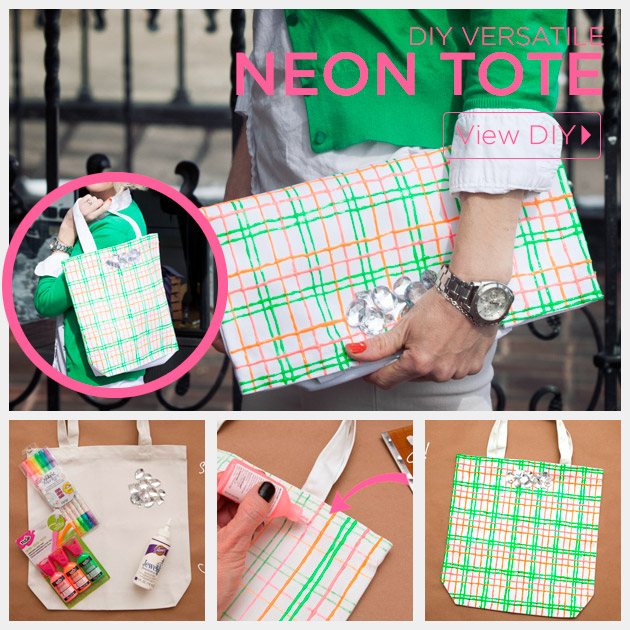 Versatile Neon Tote DIY by Trinkets in Bloom