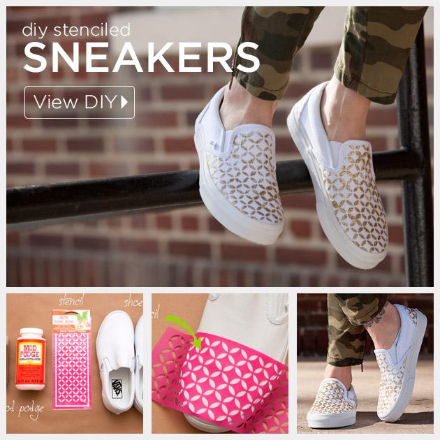 Stenciled DIY Sneakers by Trinkets in Bloom