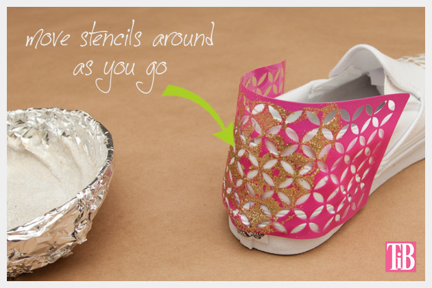 Stenciled DIY Sneakers Covering the Heel