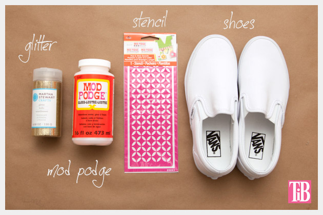 Vans w glitter stencil supplies
