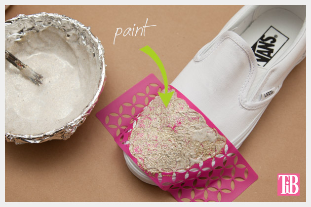 Stenciled DIY Sneakers Painting the Toe