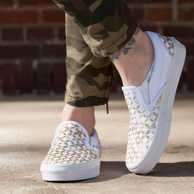 Stenciled DIY Sneakers In Gold