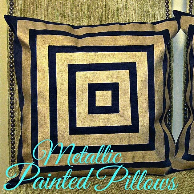 Metallic Painted Pillows DIY