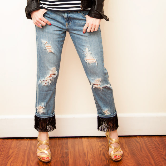Distressed Fringed Jeans DIY Tutorial by Trinkets in Bloom
