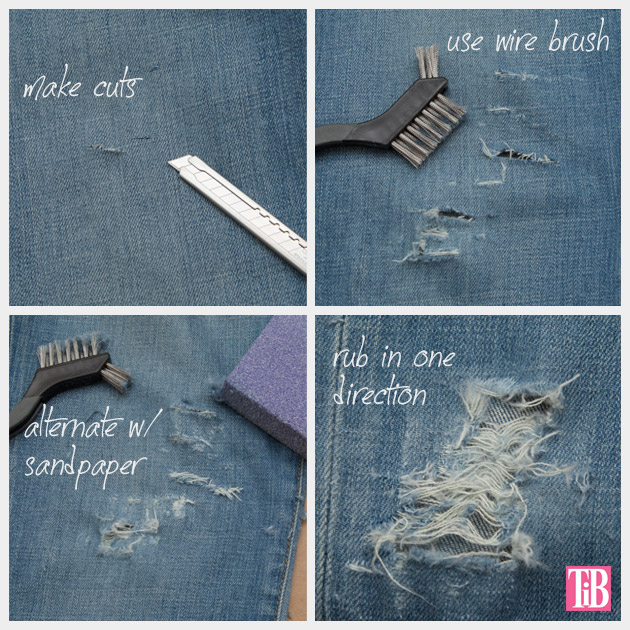 Distressed Fringed Jeans DIY Distressing Denim