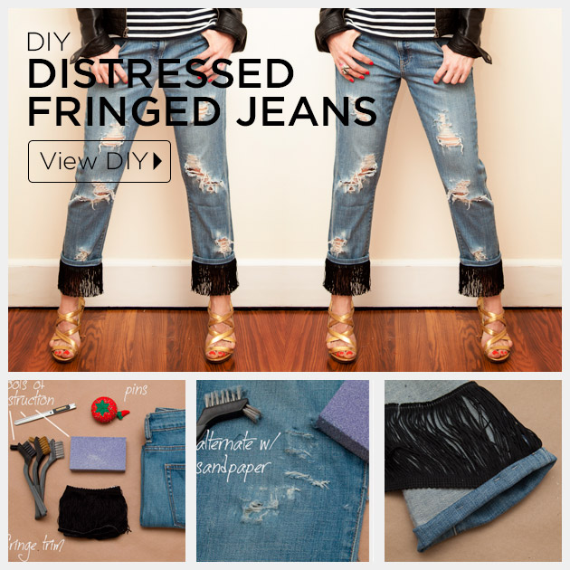 Distressed Fringed Jeans DIY by Trinkets in Bloom