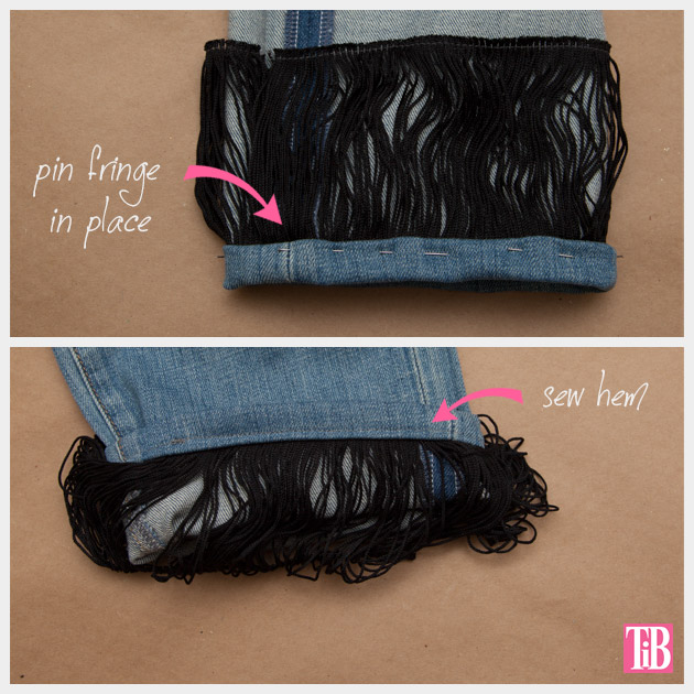 Distressed Fringed Jeans DIY Sewing on Fringe