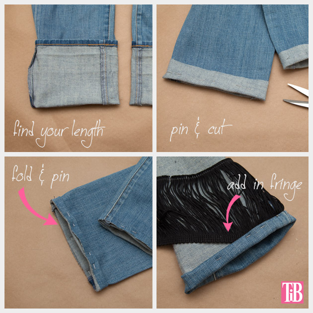 Distressed Fringed Jeans DIY Hemming