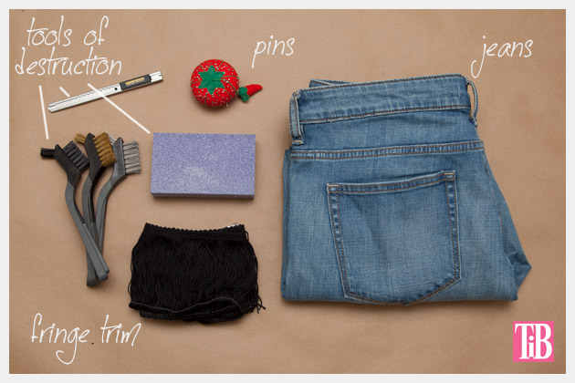 Distressed Fringed Jeans DIY Supplies