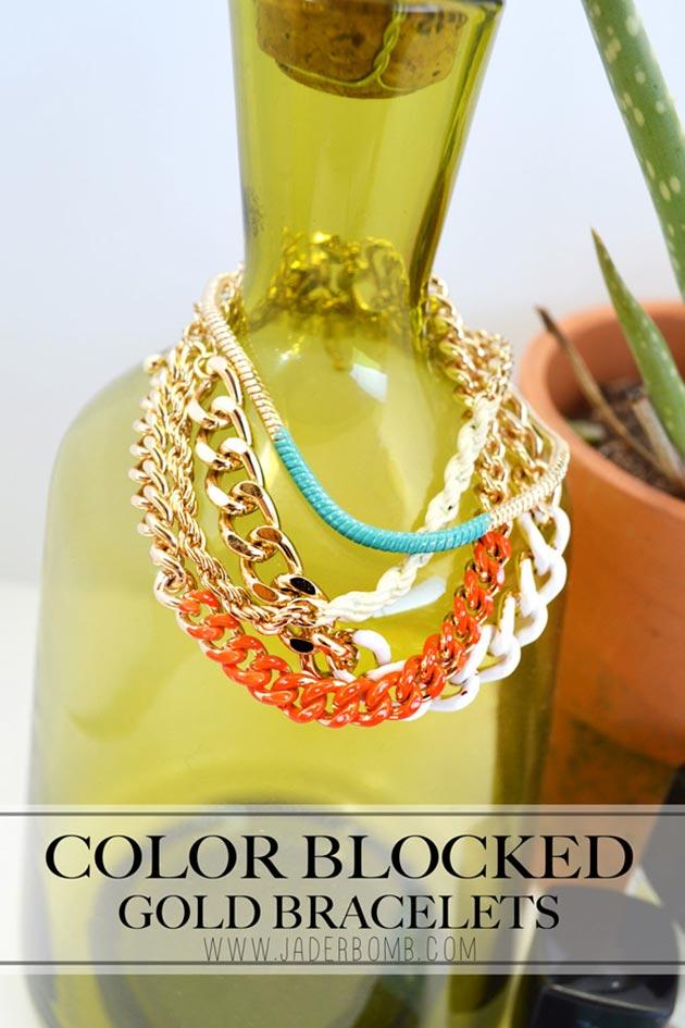 Color Blocked Gold Bracelets DIY