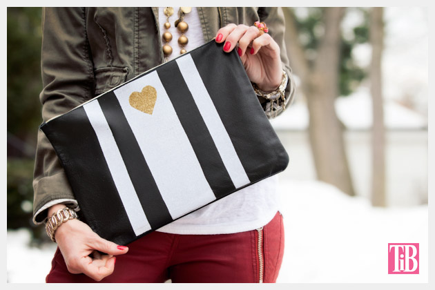 Leather Clutch DIY with Stripes and Heart Photo