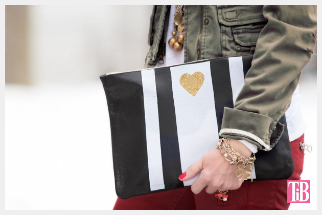Leather Clutch DIY with Stripes and Heart Photo 2