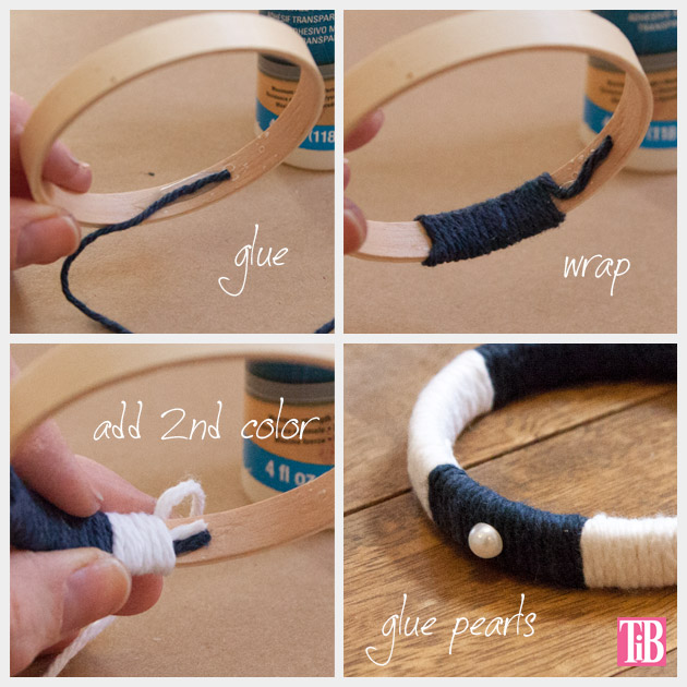 Nautical Bracelets DIY Yarn Wrapping