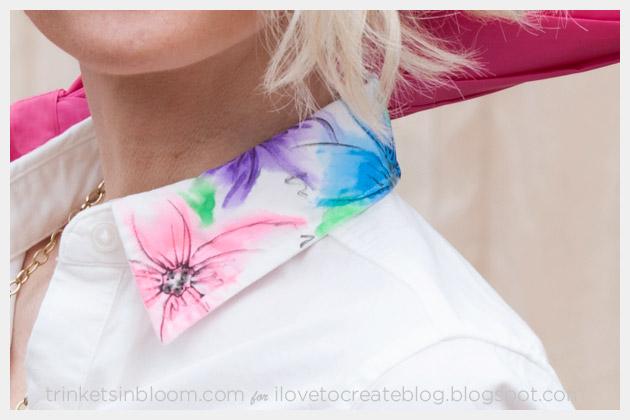 Watercolor Dress DIY Collar Close up