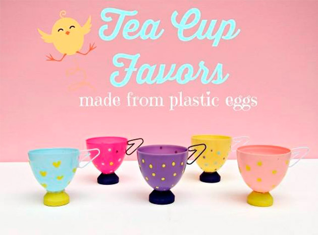 Tea Cup Favors made from plastic eggs