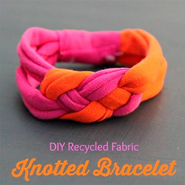 DIY Recycled Fabric Knotted Bracelet