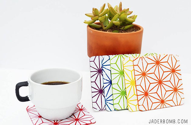 How to make DIY Stenciled Coasters