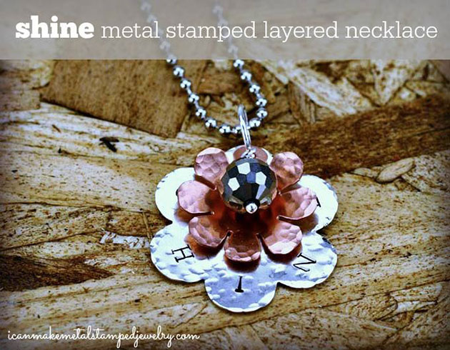 Shine Metal Stamped Layered Necklace