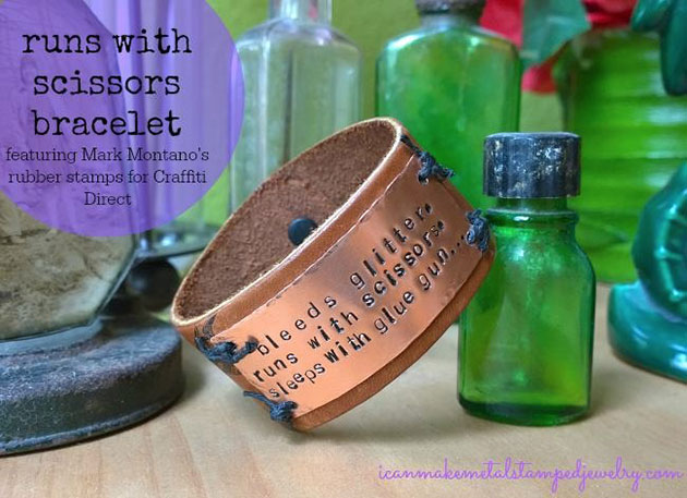 Leather and metal stamped cuff
