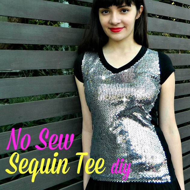 No Sew Sequin Tee DIY