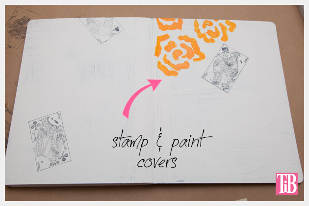 DIY Journals Stamping the Covers