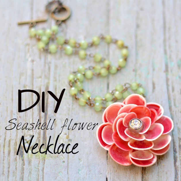 DIY Seashell Flower Necklace by Debi Beard