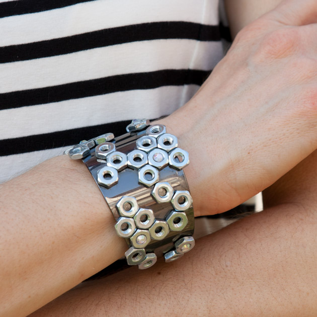 Diy jewelry do it yourself bracelets necklaces rings and earrings hex nut cuff diy jewelry solutioingenieria Images
