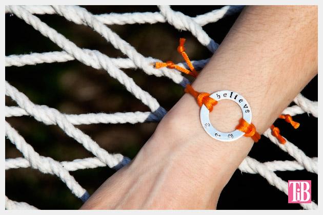 Metal Stamped Believe Bracelet DIY Photo on Hammock