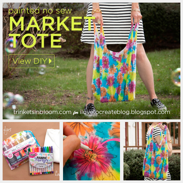 Painted No Sew Market Tote feature by Trinkets in Bloom