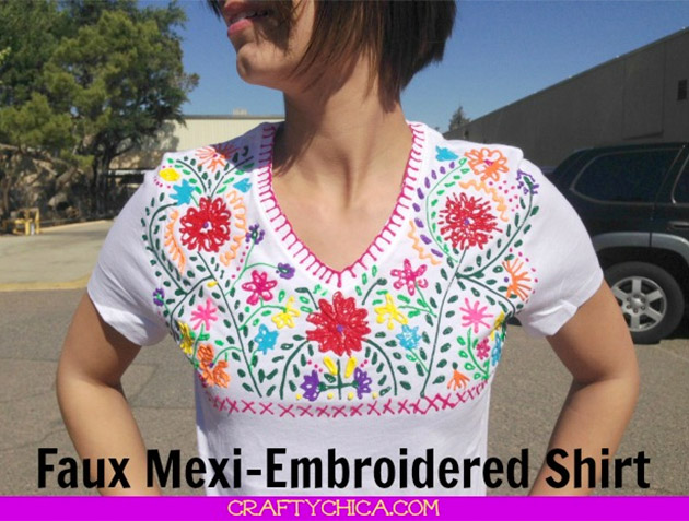 Faux Mexi-Embroidered Shirt