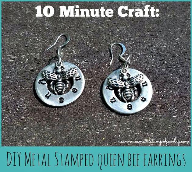 DIY Metal Stamped Queen Bee Earrings