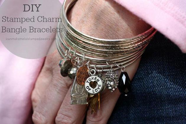 DIY Stamped Charm Bangle Bracelets