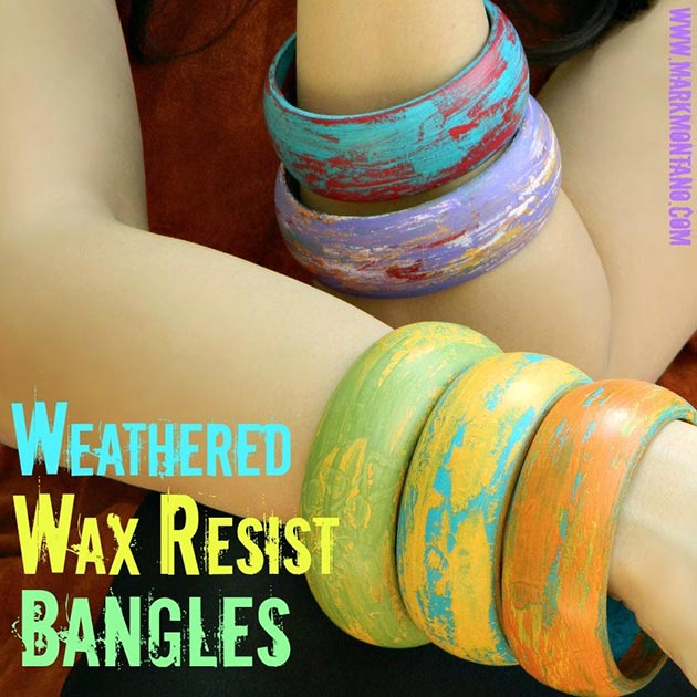 Weathered Wax Resist Bangles by Mark Montano